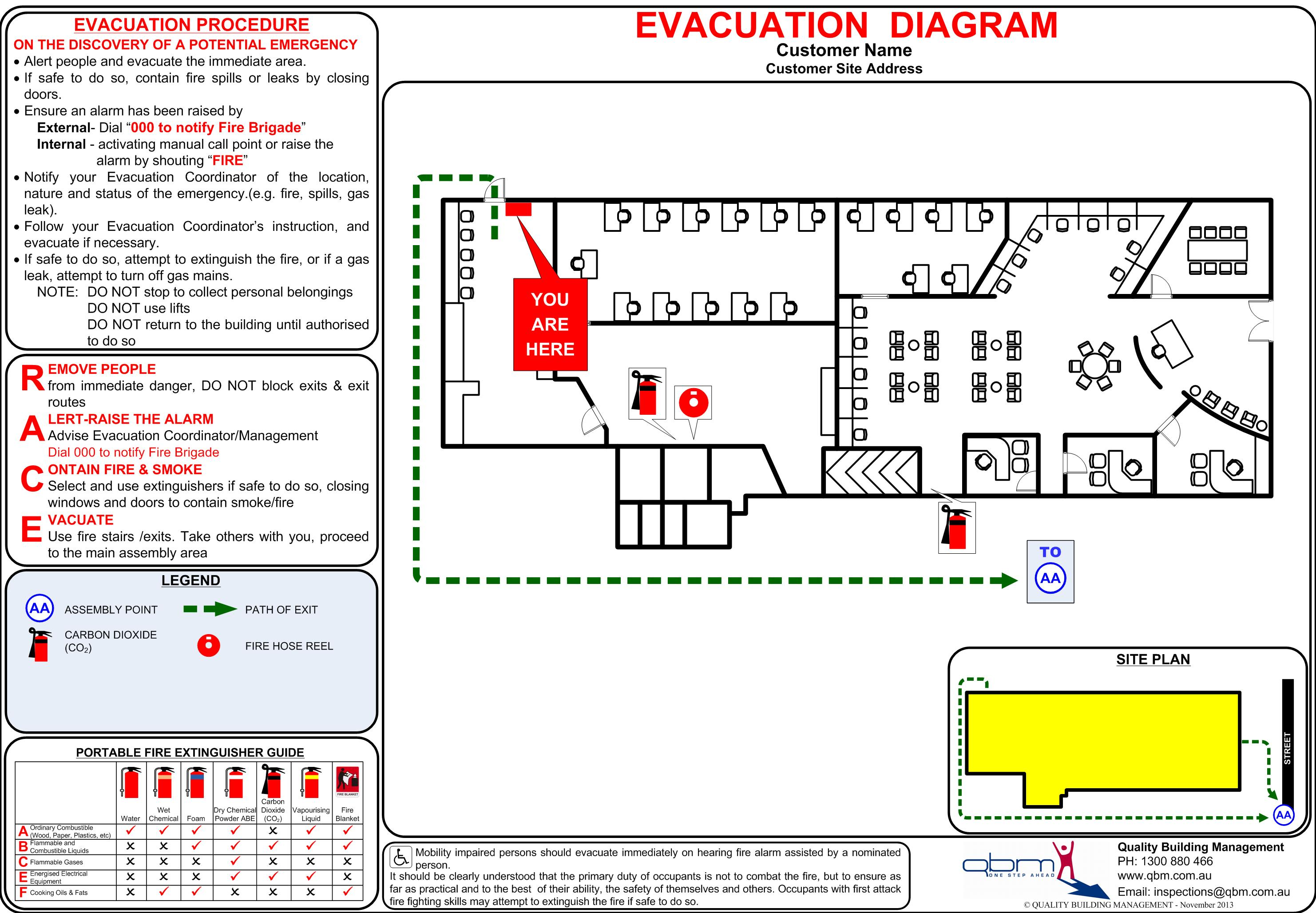 Emergency evacuation diagrams qbm compliance reporting for Fire evacuation plan template for office